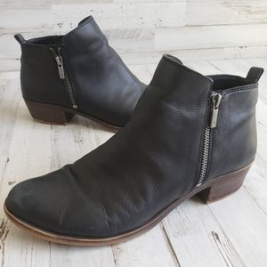 Lucky Brand Basel Black Leather Booties